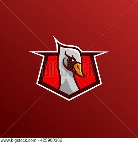 Swan Goose Bird Logo Vector Character. Animal Design Elements For Branding.. Mascot Logo Design Temp