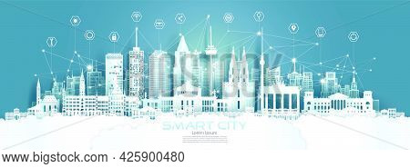 Technology Wireless Network Communication Smart City With Architecture In Germany At Europe Downtown