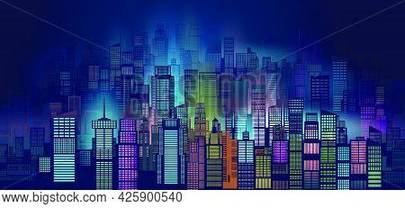 Vector Illustration Urban Architecture, Night Scene Of Light City With Blue Background, Twilight Ton