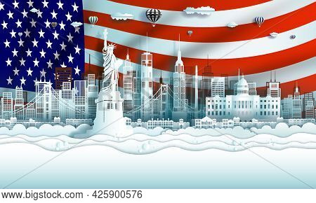 Vector Illustration Anniversary Celebration American Day In National Flag Background With Travel Lan