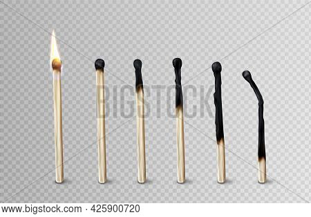 Stages Of Match Burning From Fire To Burnt Wooden Stick, Matchsticks Stand In Row, Timeline From Fla