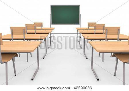Empty Classroom With Blackboard And Desks