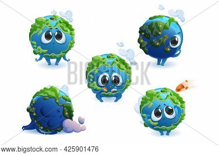 Cute Planet Earth Character With Different Emotions Isolated On White Background. Vector Set Of Cart