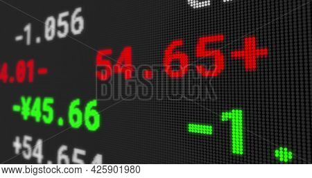 Image of stock exchange display board with numbers changing on black. global business finance concept digitally generated image.