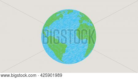 Image of planet earth in blue and green spinning on grey background. environment ecology geography concept digitally generated image.