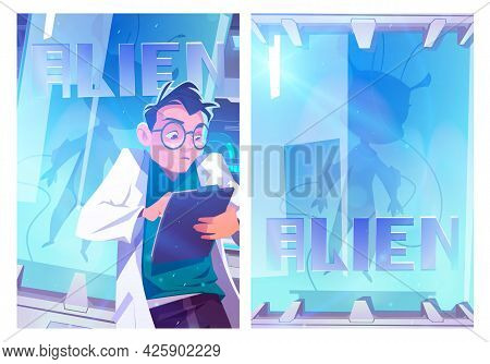 Alien In Cryonics Capsule Cartoon Poster. Futuristic Investigation, Scientist Writing Notes In Labor