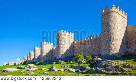 City walls of Avila in Spain. Panoramic view of landmark