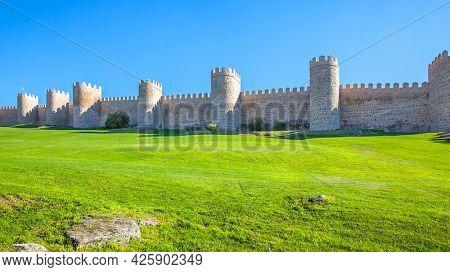 Panoramic view of medieval city walls of Avila in Spain