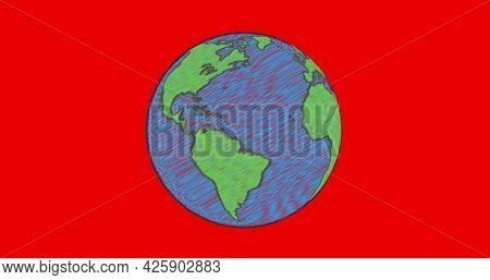 Image of planet earth in blue and green spinning on red background. environment ecology geography concept digitally generated image.