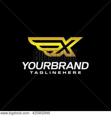 Letter X Winged Crests Logo . Alphabet Logotype Design Concept