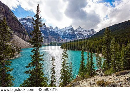Canadian Rockies. One of the most beautiful lakes in the world - Moraine Lake. Valley of the Ten Peaks. The water in the lake is of a beautiful azure color. Travel to northern Canada