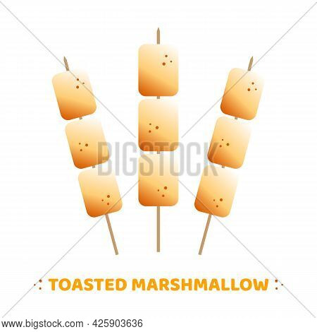 Set, Collection Of Cute Golden Brown Vector Toasted Marshmallow On Sticks, Skewers.