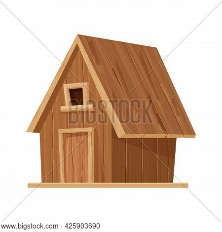 Forest Hut, Wooden House Or Cottage In Cartoon Style Isolated On White Background. Cabin, Country Bu