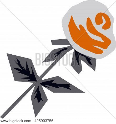 Rose Flower In Gray-orange Color, In Cubic Style, Vector Drawing, Isolate On A White Background