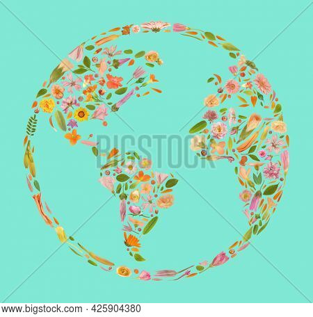 Art floral world frame made of beautiful natural flowers. Global floral trendy colorful blooming Earth abstract idea illustration. Botany globe concept made of leaves, blossoms and petals
