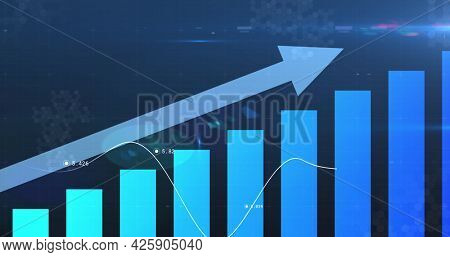 Image of financial data processing with arrow pointing up and statistics. global business finance concept digitally generated image.