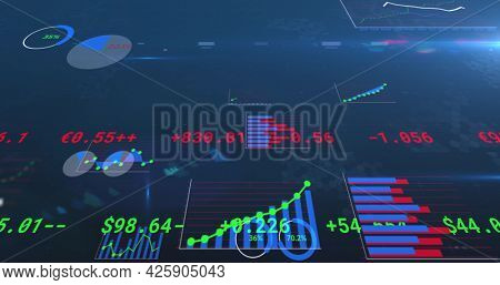 Image of financial data processing, numbers changing and statistics. global business finance concept digitally generated image.