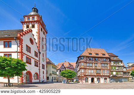 Mosbach, Germany - June 2021: Old City Hall And Half Timbered Buildings At Historic City Center On S