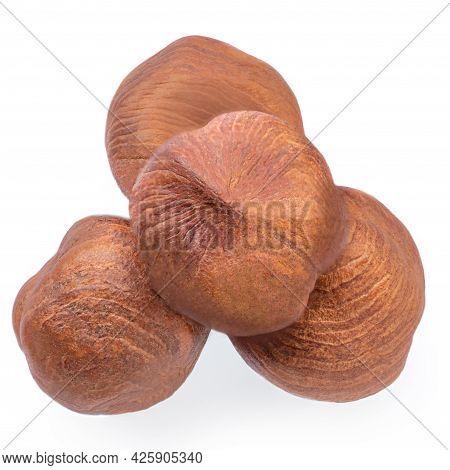 Hazelnuts  Isolated On White Background. Heap Of Hazelnuts Macro. Top View