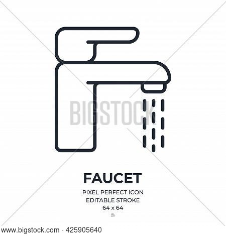 Faucet Editable Stroke Outline Icon Isolated On White Background Flat Vector Illustration. Pixel Per