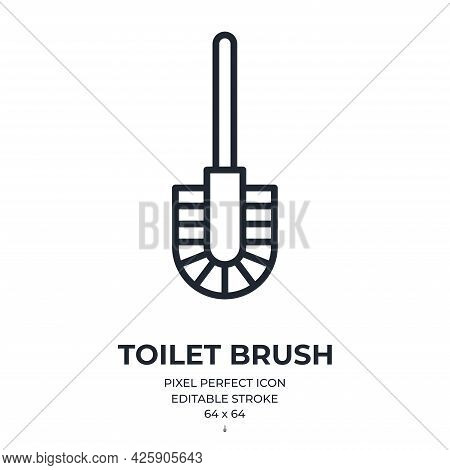 Toilet Brush Editable Stroke Outline Icon Isolated On White Background Flat Vector Illustration. Pix