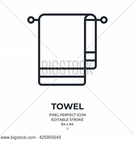 Towel Editable Stroke Outline Icon Isolated On White Background Flat Vector Illustration. Pixel Perf