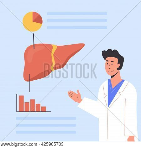 Concept Of Consulting Doctor Or Medical Scientist Explaining Human Anatomy. Hospital Check Up. Liver