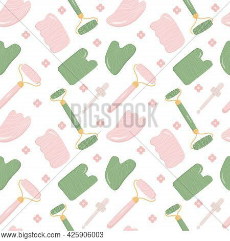 Seamless Pattern With Rose Quartz Gua Sha And Jade Scraping Massage Tool. Natural Pink Scraper And G