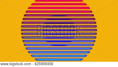 Image of multiple colourful circles and lines light trails moving on changing background. Colour light movement concept digitally generated image.