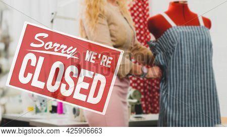 Female Tailor Closing Her Atelier Due To Economic Crisis Caused By Coronavirus Quarantine
