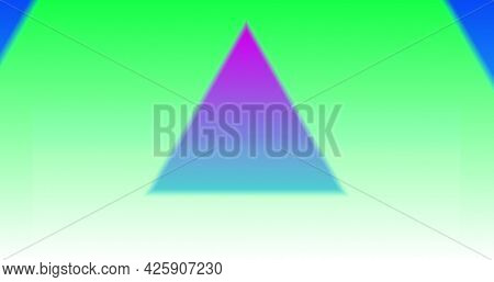 Image of multiple colourful neon kaleidoscope triangles moving in repetition. Colour light movement concept digitally generated image.