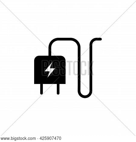 Smartphone Charger Adapter And Electric Socket Black Line Icon. Trendy Flat Isolated Outline Symbol