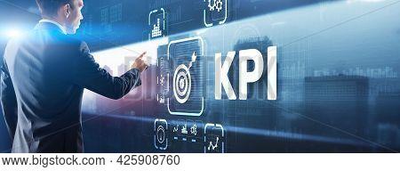 Kpi Key Performance Indicator Business Internet Technology Concept On Virtual Screen