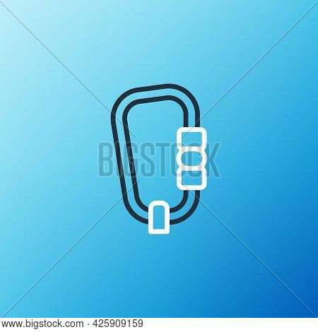 Line Carabiner Icon Isolated On Blue Background. Extreme Sport. Sport Equipment. Colorful Outline Co