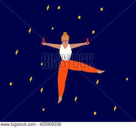 The Girl Is An Aerial Gymnast Whist On The Rings. Acrobatics, Circus Exercises. Vector Illustration