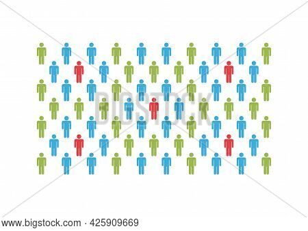 Group Of People With Herd Immunity Agains Virus Bacteria.  Coronavirus Covid Prevention Concept.