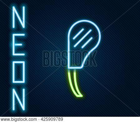 Glowing Neon Line Rib Eye Steak Icon Isolated On Black Background. Steak Tomahawk. Piece Of Meat. Co