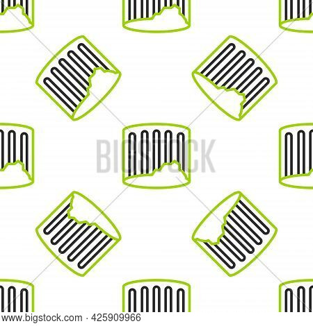 Line Ancient Column Icon Isolated Seamless Pattern On White Background. Vector