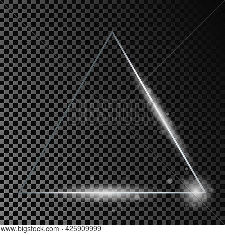 Silver Glowing Triangle Frame With Sparkles Isolated On Dark Transparent Background. Shiny Frame Wit