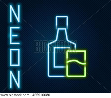 Glowing Neon Line Whiskey Bottle And Glass Icon Isolated On Black Background. Colorful Outline Conce