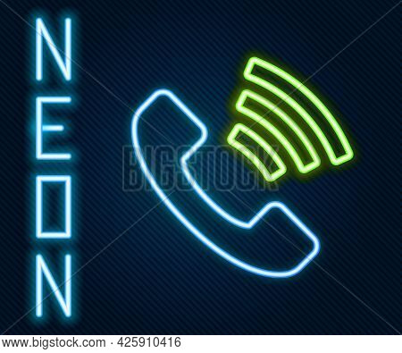 Glowing Neon Line Telephone 24 Hours Support Icon Isolated On Black Background. All-day Customer Sup