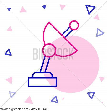 Line Radar Icon Isolated On White Background. Search System. Satellite Sign. Colorful Outline Concep