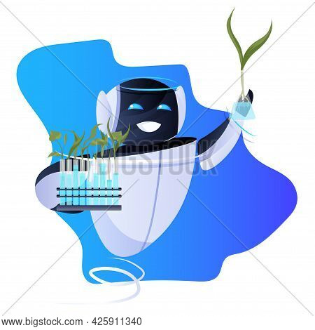 Robot Holding Test Tubes With Genetically Modified Plants Scientific Research Biology Education Arti