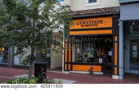 WESTPORT, CT, USA - JULY 4, 2021:  L'Occitane en Provence store entrance view from Main Street in down town area