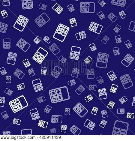 White Calculator Icon Isolated Seamless Pattern On Blue Background. Accounting Symbol. Business Calc