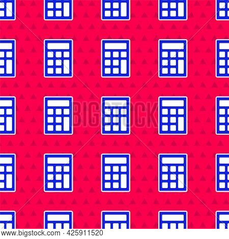 Blue Calculator Icon Isolated Seamless Pattern On Red Background. Accounting Symbol. Business Calcul