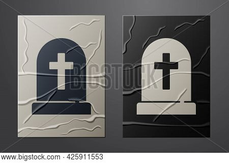 White Tombstone With Cross Icon Isolated On Crumpled Paper Background. Grave Icon. Happy Halloween P