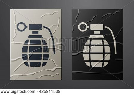 White Hand Grenade Icon Isolated On Crumpled Paper Background. Bomb Explosion. Paper Art Style. Vect