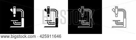 Set Microscope Icon Isolated On Black And White Background. Chemistry, Pharmaceutical Instrument, Mi