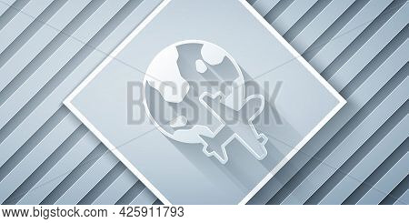 Paper Cut Globe With Flying Plane Icon Isolated On Grey Background. Airplane Fly Around The Planet E